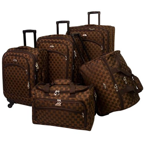 American Flyer Luggage Madrid 5 Piece Spinner Set, Brown, On