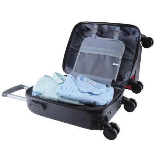 4Pcs ABS Trolley Carry On Travel Bag Spinner Suitcase Black