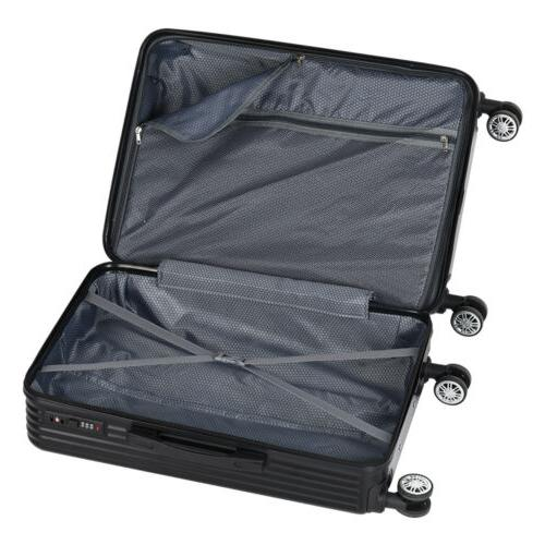 NEW Shell Cabin Suitcase Case Wheels Luggage Lightweight Black