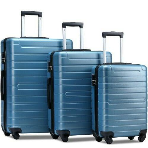 """Luggage Sets Spinner Suitcase with Lock Lightweight 20""""24""""28""""SteelBlue"""