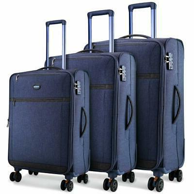 SHOWKOO Luggage Sets Expandable 3 Piecet Suitcase Double Spi