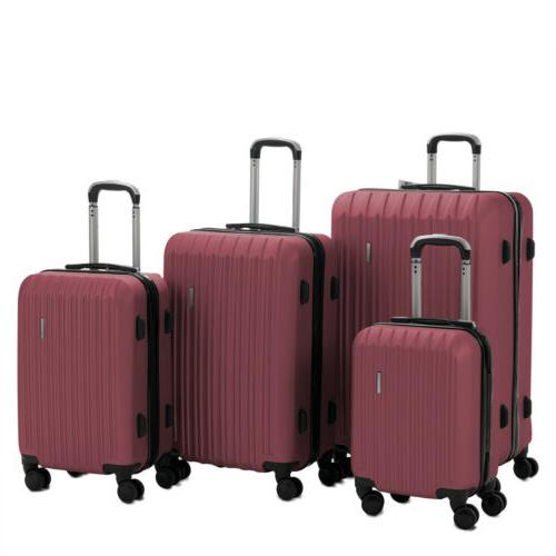 4PCS Luggage Set Travel Bag Carry Suitcase Lock ABS