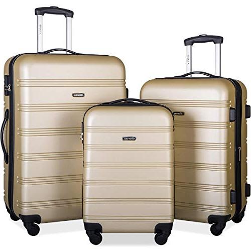 mellowdy 3 piece set spinner luggage expandable