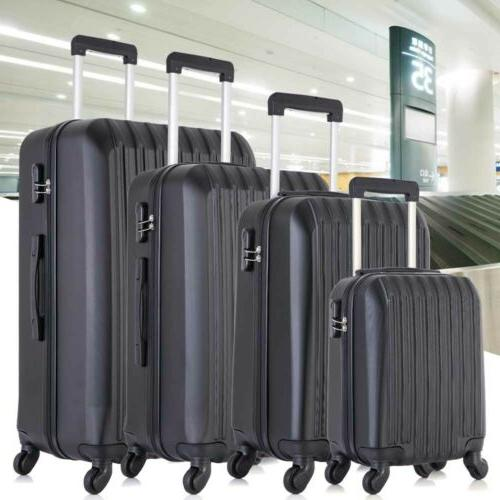 "Travel Luggage 4PCS Trolley Suitcase 16""20""24""28"" Black"