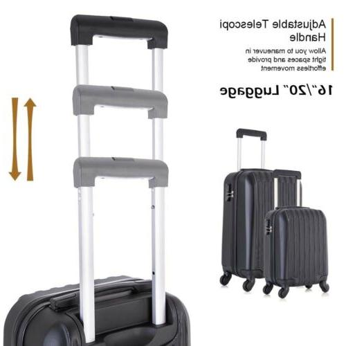 "Travel Set Trolley Spinner Suitcase 16""20""24""28"" Black"