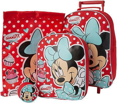minnie mouse 4pc childrens luggage set wheeled