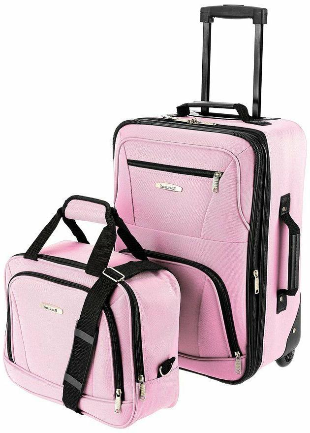 New Rockland 2 Piece Carry On Rolling Travel Bag Luggage Set