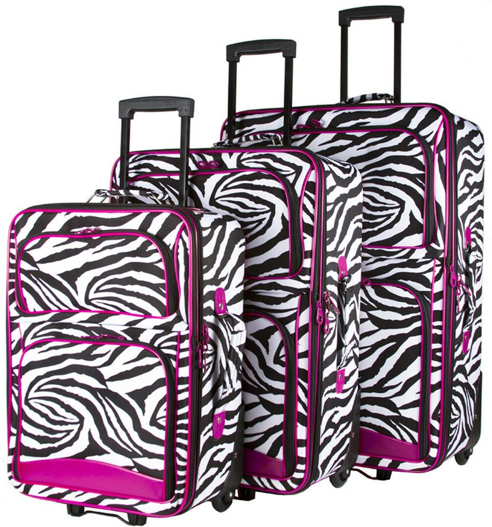 pink zebra expandable 3 pc piece luggage