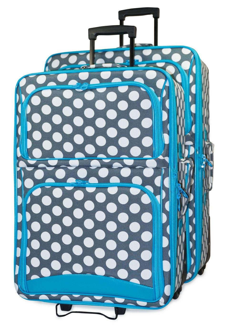 polka dot expandable 2 pc piece luggage