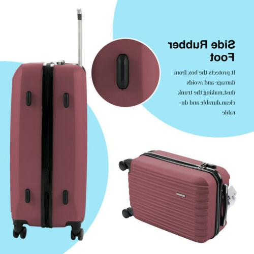 Red 4 Piece Luggage Light Case Suitcase