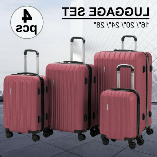 4pcs luggage travel set abs spinner bag