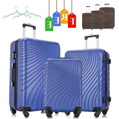 Blue Set of 3 Luggage Set Travel Bag Trolley ABS Spinner Bus