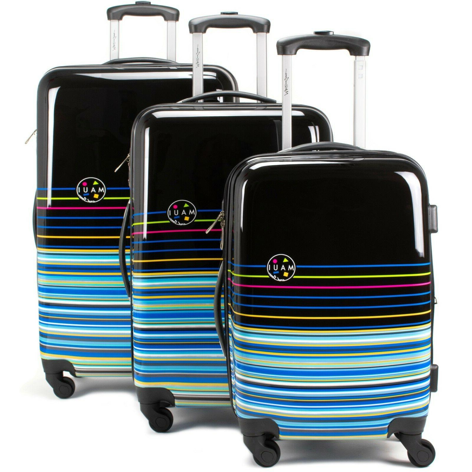 stripes 3 piece expandable hardside spinner luggage