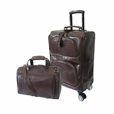 traveler croco print leather 2pc spinner luggage