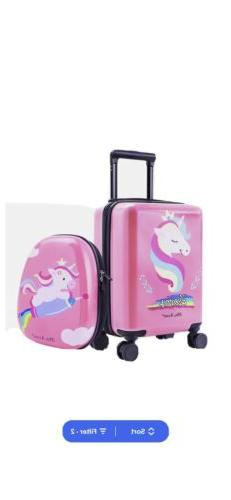 Unicorn Kids Carry on Luggage Set with Spinner Wheels Girls