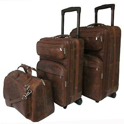waxy brown leather 3 piece luggage set
