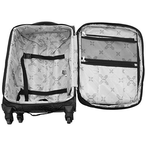 "Aimee Kestenberg Women's Jacquard Polyester 3-Piece Luggage 20"" Carry-on, 24"", 28"" , Black"