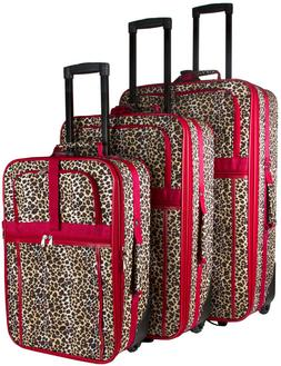Leopard Expandable 3 pc Piece Luggage Set for Travel Soft Si