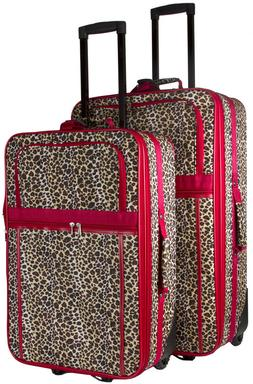 Leopard Print Expandable 2 pc Piece Luggage Set for Travel S