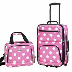 Rockland Luggage 2 Piece Printed Luggage Set, Pink Dot, New