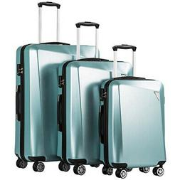 Coolife Luggage 3 Piece Sets PC+ABS Spinner Suitcase 20 inch