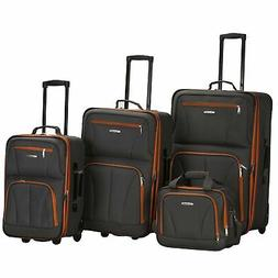 ROCKLAND 4PC BLACK LUGGAGE SET CHARCOAL