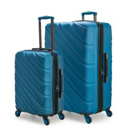 Luggage Bag Set 2 Piece Blue Expandable 4 Wheel Spinner with