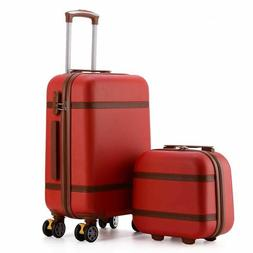 Luggage Bag Set Vintage ABS PC Rolling Spinner Trolley Trave
