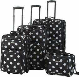 Rockland Luggage Dots 4 Piece Luggage Set, Black Dots, One S
