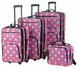 Rockland Luggage Dots 4 Piece Luggage Set, Pink Dots, One Si