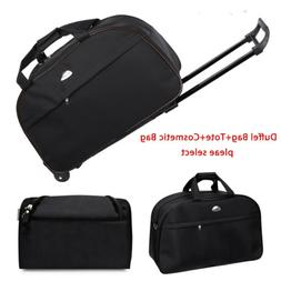Men Women Luggage Duffel Bag Nylon Wheel Suitcase Tote Carry