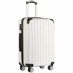 COOLIFE Luggage Expandable Suitcase PC+ABS |white grid new)