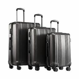Coolife Luggage Expandable Suitcase PC+ABS 3 Piece Set with
