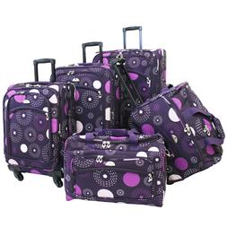 American Flyer Luggage Fireworks 5 Piece Spinner Set, Purple