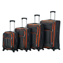 Rockland Luggage Impact Spinner 4 Piece Luggage Set, Charcoa