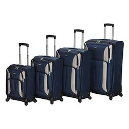 Rockland Luggage Impact Spinner 4 Piece Luggage Set, Navy