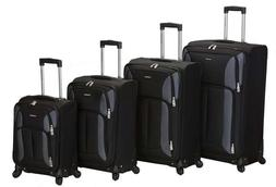 Rockland Luggage Impact Spinner 4 Piece Luggage Set, Black,