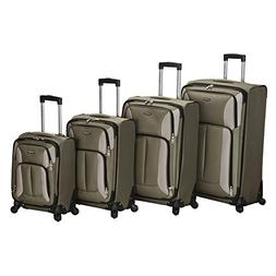 Rockland Luggage Impact Spinner 4 Piece Luggage Set, Olive