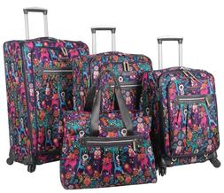 Lily Bloom Luggage Set 4 Piece Suitcase Collection With Spin