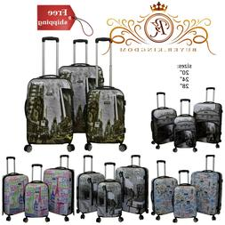 Luggage Set With Polycarbonate Shell Tie-Down Straps And Inl