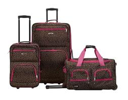 Rockland Luggage Spectra 3-Piece Rolling Luggage Set Pink Le