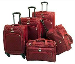 American Flyer Madrid 5-Piece Spinner Luggage Set in Red