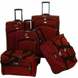 madrid red 5 piece spinner luggage set