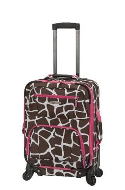 "Rockland Mariposa 19"" Pink Giraffe Expandable Spinner Carry-"