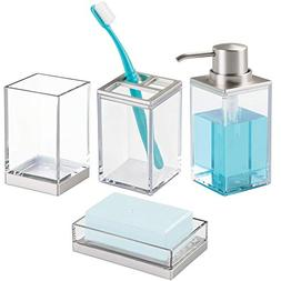 mDesign Bathroom Accessory Set, Soap Dispenser Pump, Soap Di