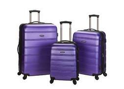 Rockland Melbourne Abs Luggage Set Purple 3 Piece