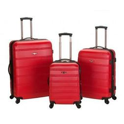 Rockland Melbourne 360 Degree Spinner 3 Pc Luggage Set - Red