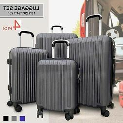 4pcs Lightweight Luggage Set ABS Travel Rolling Spinner Hard