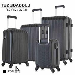 Set of 4 Lightweight Luggage Set ABS Travel Rolling Spinner