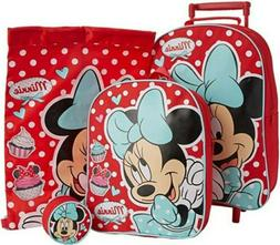 DISNEY Minnie Mouse 4pc Luggage Set Wheeled Bag Backpack Pur